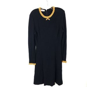 Talbots Embellish Gold Beaded Neckline Black Dress